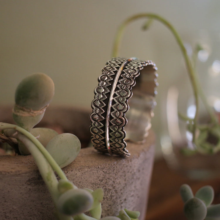 Sterling Silver Stamped Lace Cuff #3