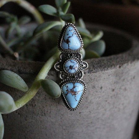 Lavender Turquoise Three Stone Statement Piece
