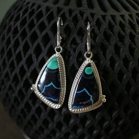 Malachite Azurite Statement Earrings