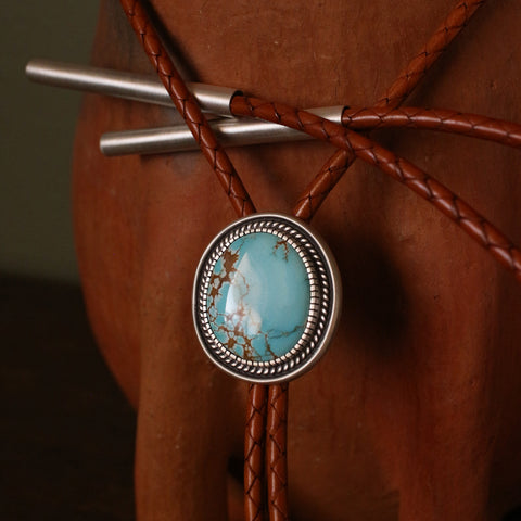 Number 8 Sterling Silver Bolo Tie