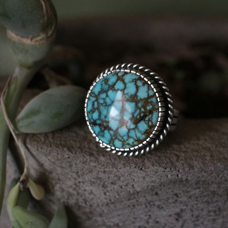 Number 8 Round Turquoise Ring