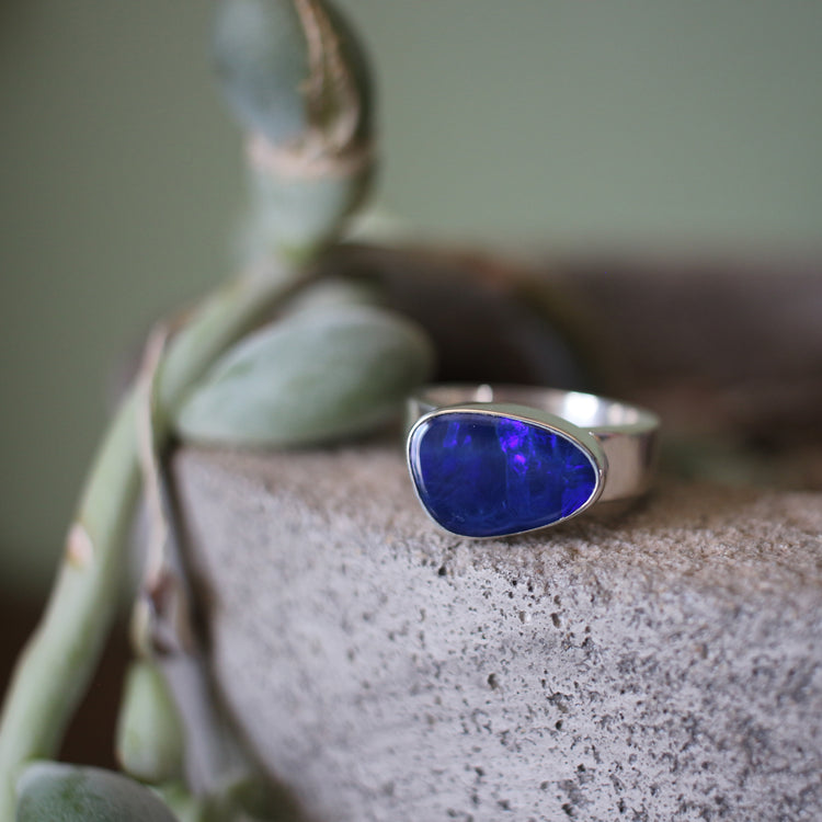 Purple Australian Opal Ring