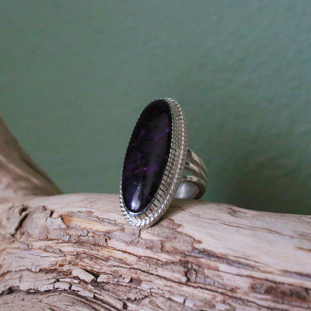 Sugilite Ring with 3 Pronged Band