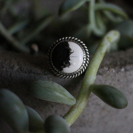 The Man in the Moon White Buffalo Ring/Pendant