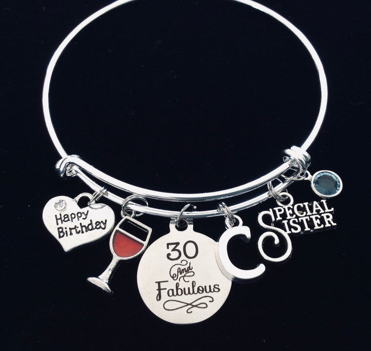 30th birthday gift for sister charm bracelet