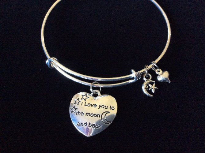I Love You to the Moon and Back Shooting Star Expandable Charm Bracelet Adjustable Wire Bangle Gift