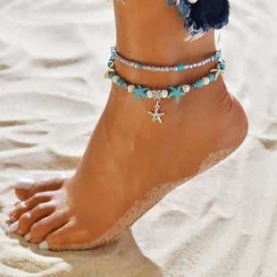 "Beach Ankle Jewelry Beaded Multilayer 2 Layered Anklet One Size Fits All Starfish Silver and Turquoise (8 2/8"") long"