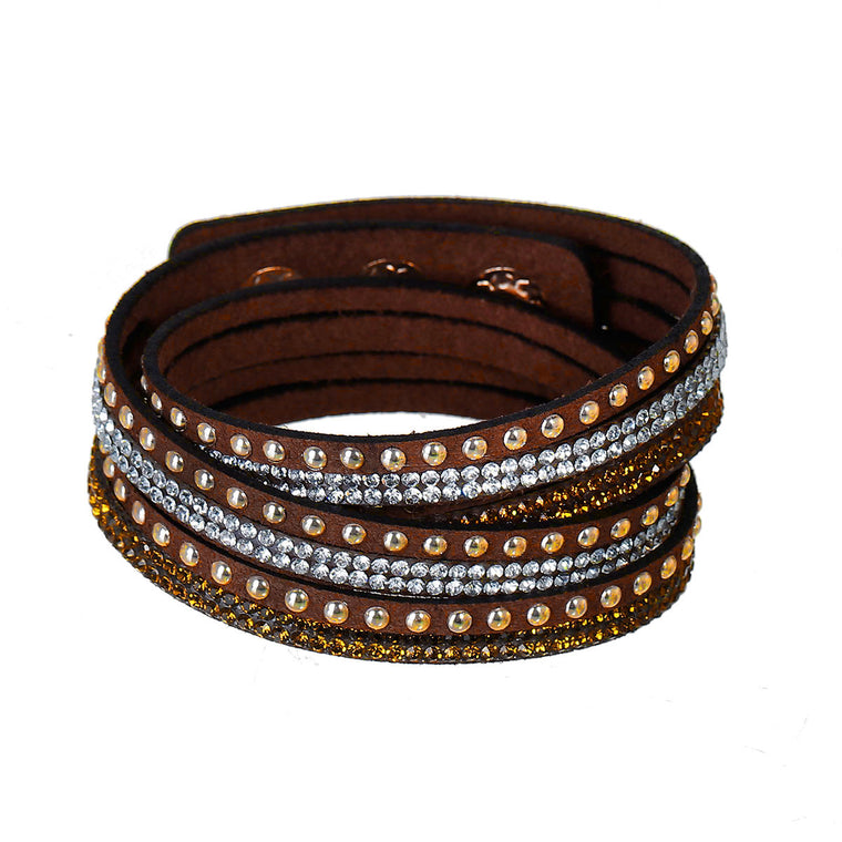 Adjustable Wrap Bracelet Brown Vegan Suede Slake Bracelet Silver and Copper Rhinestone Gift