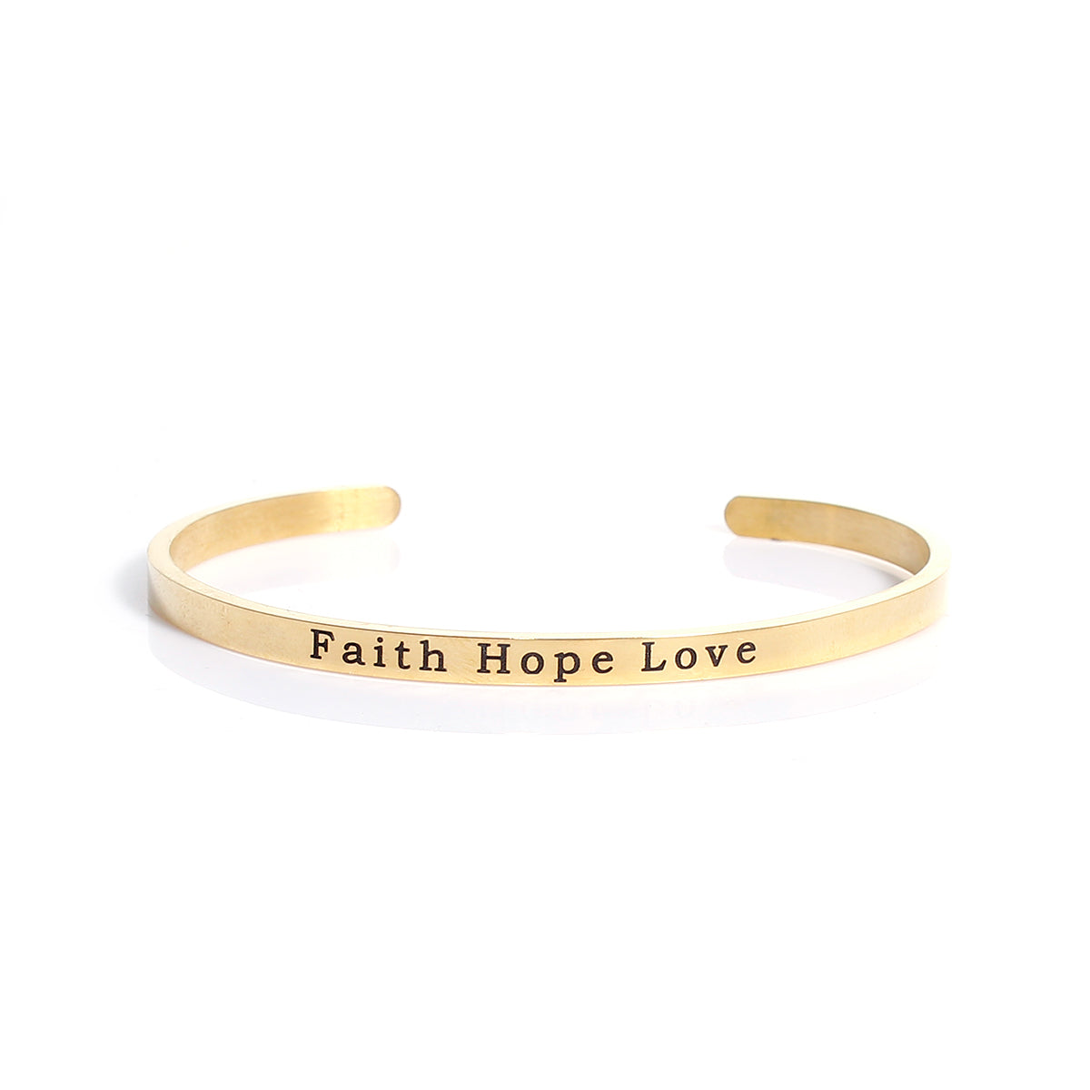 4a1672e7311bc Faith Hope Love Gold Plated Stainless Steel Stacking Bangle Bracelet  Inspirational Quote Bracelet Positive Energy Cuff Bracelet