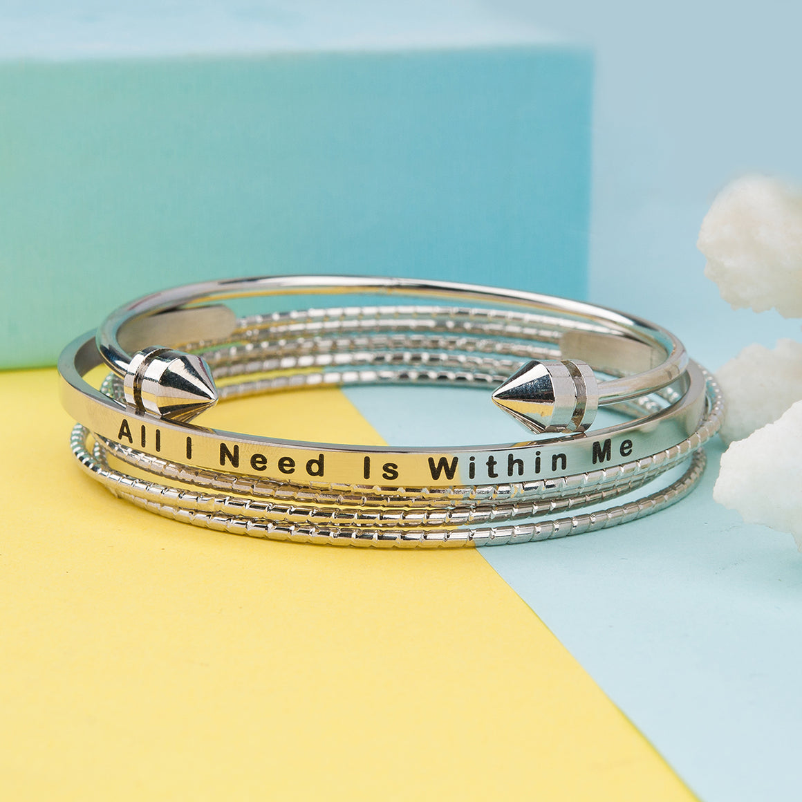 Bangle Set Bracelets All I Need Is Within Me Stainless Steel Stacking Bangles Bracelets