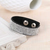 Adjustable Wrap Bracelet Black Vegan Suede Silver Bling Rhinestone Gift