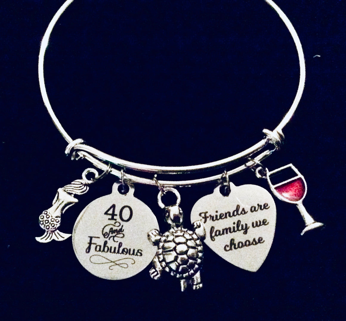 40th Birthday Gift for Her Nautical Jewelry Charm Bracelet