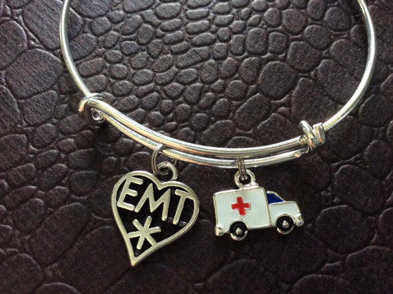 Ambulance and EMT Medical Charm on a Silver Expandable Adjustable Bangle Bracelet Paramedic EMT One Size Fits All