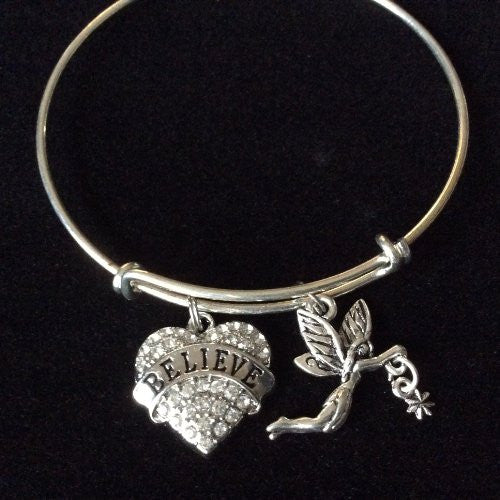 Do You Believe Crystal Heart with Fairy Expandable Charm Bracelet