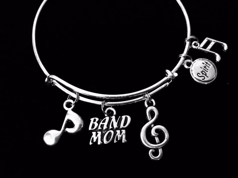 Band Mom Jewelry Expandable Charm Bracelet Silver Adjustable Bangle Music Notes Marching Band School Spirit Gift