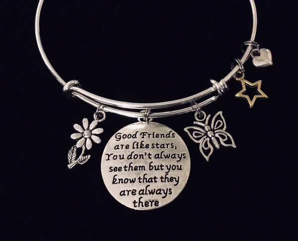 Soul Sister Forever My Friend Expandable Charm Bracelet Silver Adjustable Bangle Trendy Best Friend One Size Fits All Gift BFF