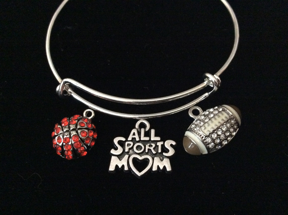 All Sports Mom Basketball Mom Football Mom Expandable Charm Bracelet Adjustable Silver Bangle Sports One Size Fits All Gift