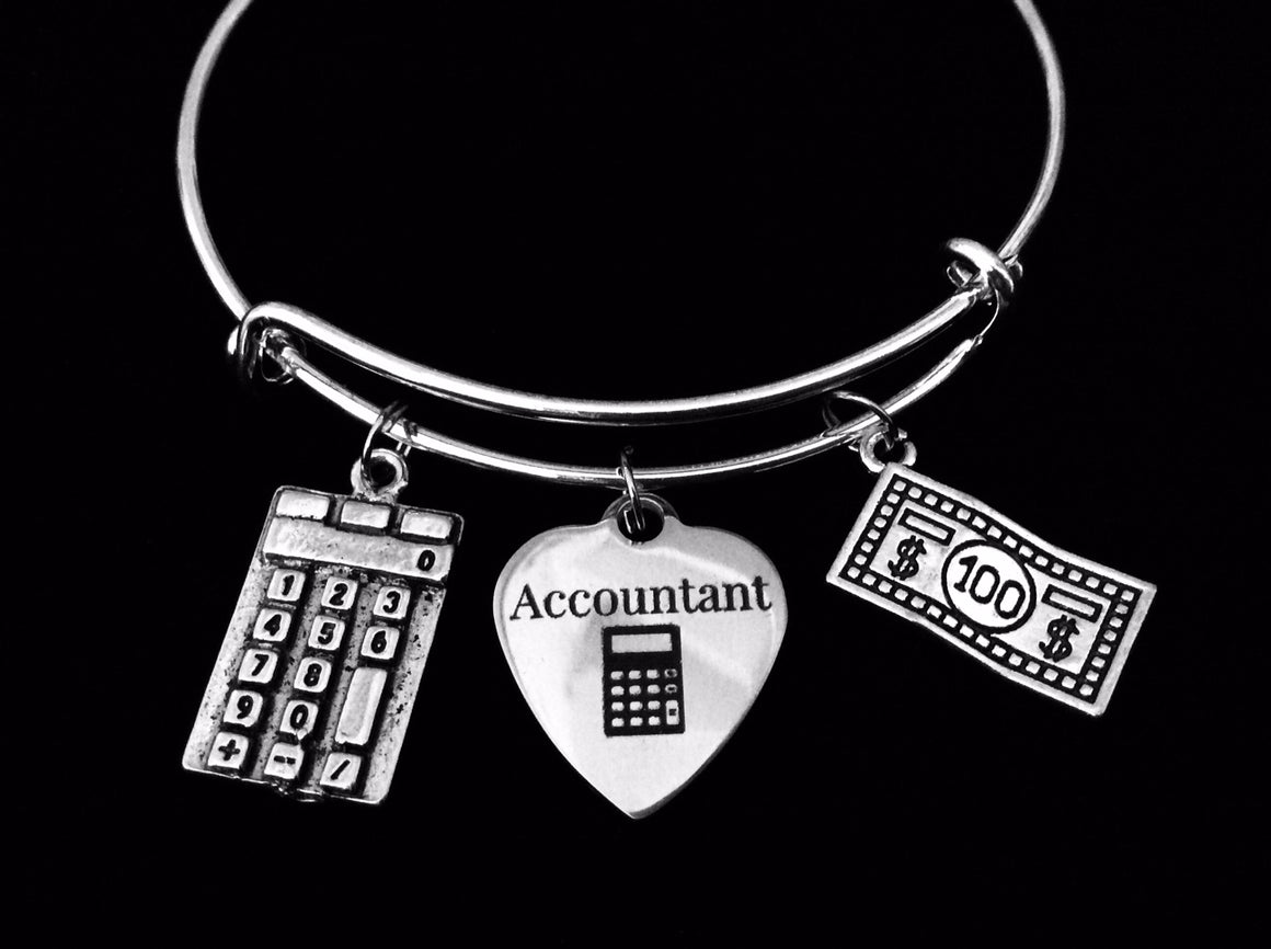 Accountant Adjustable Charm Bracelet Expandable Silver Bangle Calculator Tax Advisor Trendy One Size Fits All Gift CPA Gift