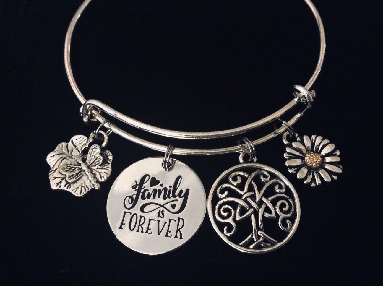 Family Is Forever Expandable Charm Bracelet Tree Of Life Dragonfly