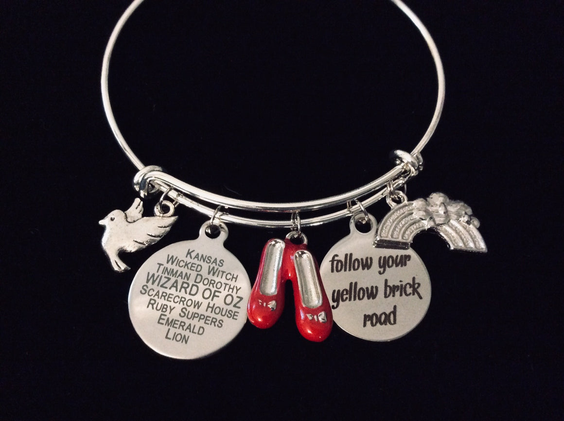 Wizard of Oz Charm Bracelet Expandable Adjustable Bangle One Size Fits All Gift Follow Your Yellow Brick Road Rainbow Ruby Slippers Graduation Inspirational Gift