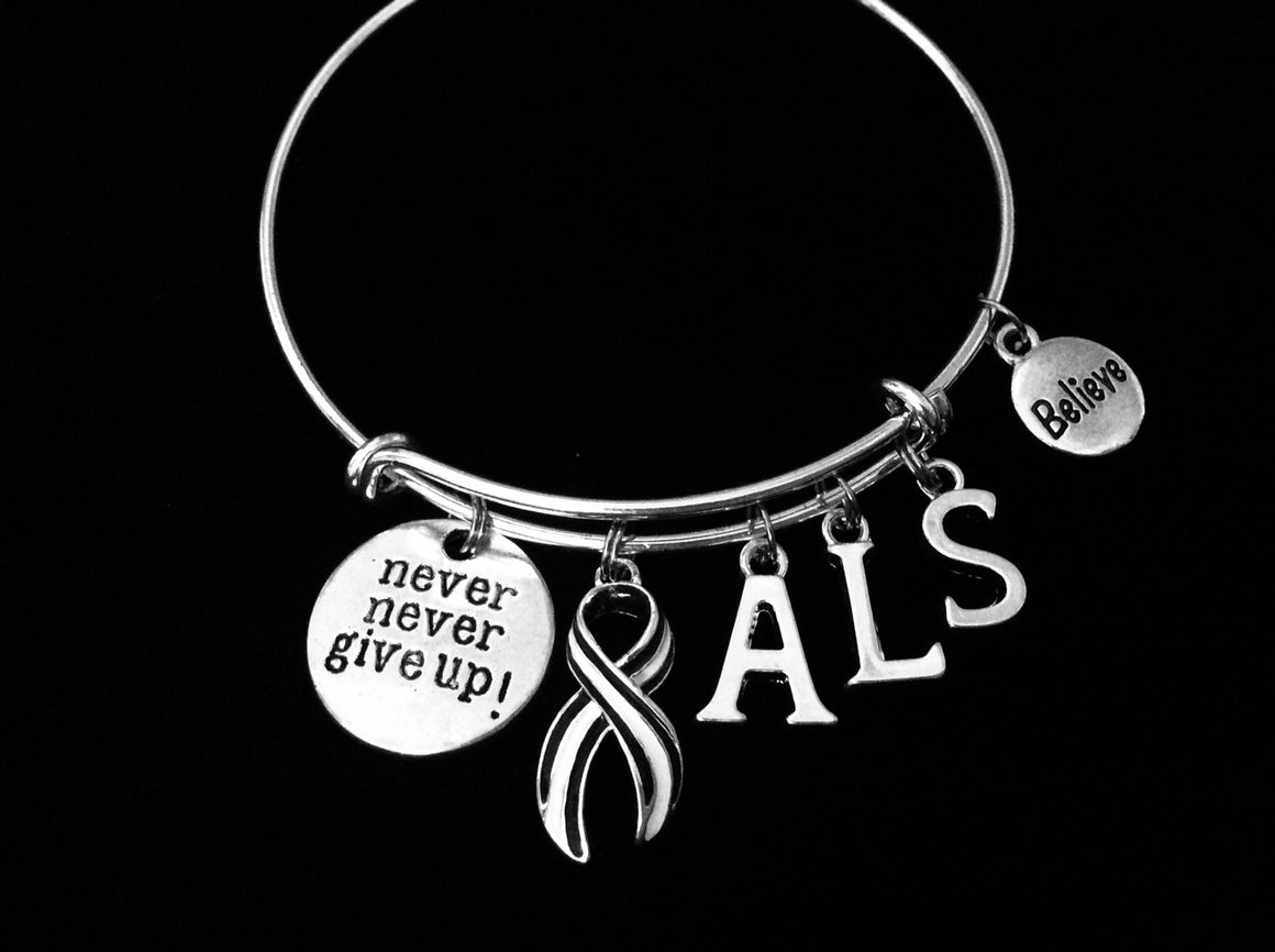 ALS Awareness bracelet Lou Gehrig's Disease Charm Bracelet Navy and White Ribbon Silver Expandable Adjustable Bangle One Size Fits All Gift Amyotrophic Lateral Sclerosis Awareness Jewelry Believe Never Give Up
