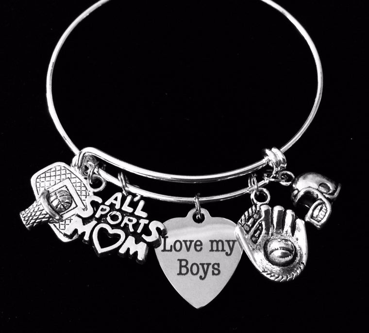 Basketball Baseball Football All Sports Mom Expandable Silver Charm Bracelet One Size Fits All Adjustable