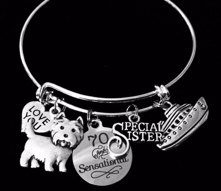 70 and Sensational Birthday Expandable Charm Bracelet Silver Adjustable Bangle One Size Fits All Gift