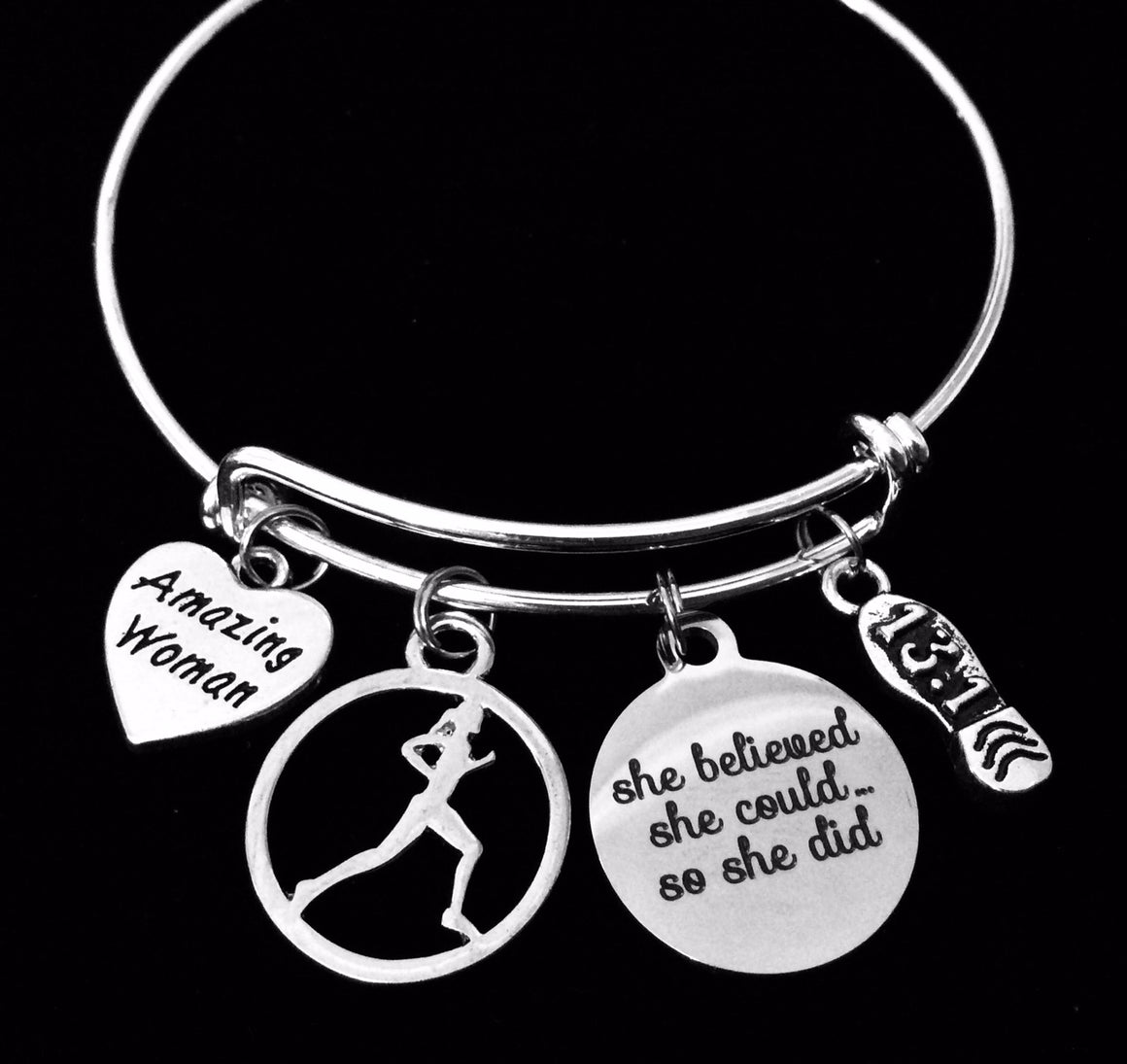 26.2 She Believed Marathon Runner Silver Expandable Charm Bracelet Adjustable Wire Bangle One Size Fits All Gift Trendy