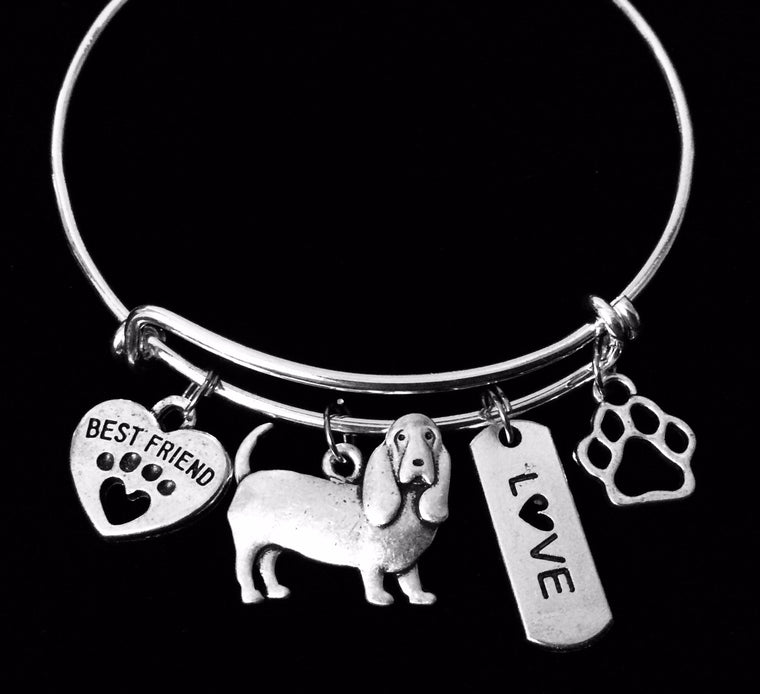 Bassett Hound Dog Expandable Charm Bracelet Silver Adjustable Wire Bangle Gift Paw Print One Size Fits All Gift