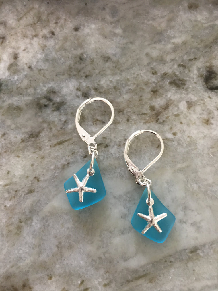 Star Fish Sea Glass Earrings Sterling Silver Blue Seaglass Jewelry Nautical Earrings Beach Glass