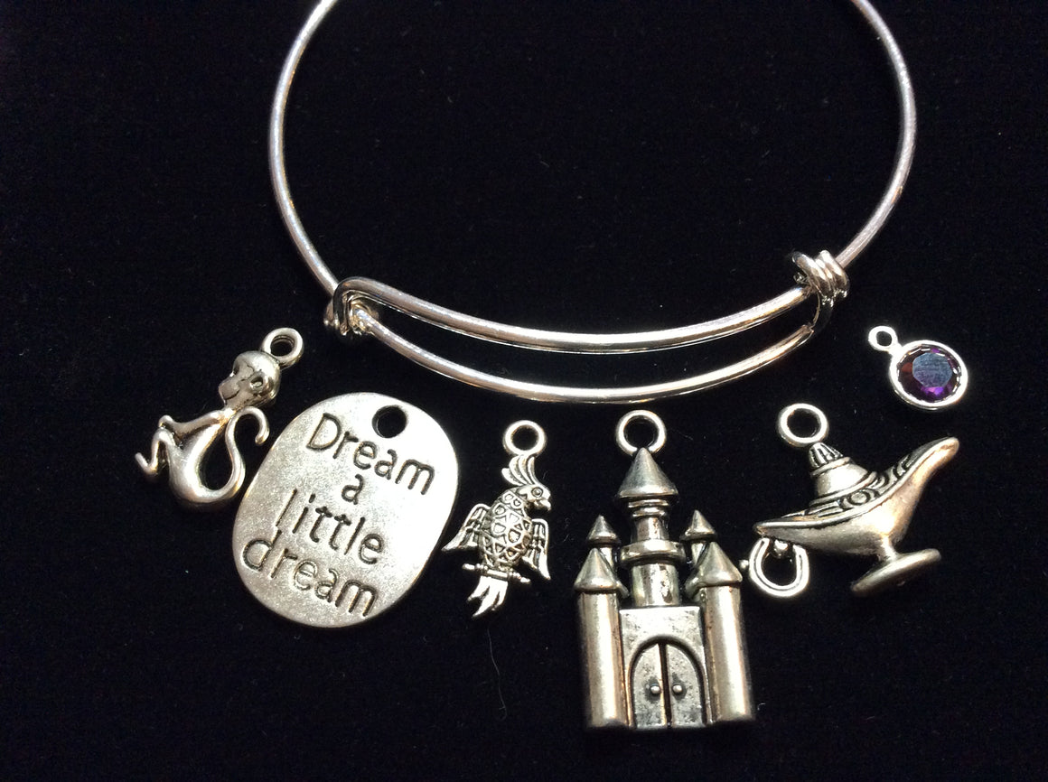 Aladdin Dream a Little Dream Expandable Charm Bracelet Adjustable Silver Bangle One Size Fits All Gift