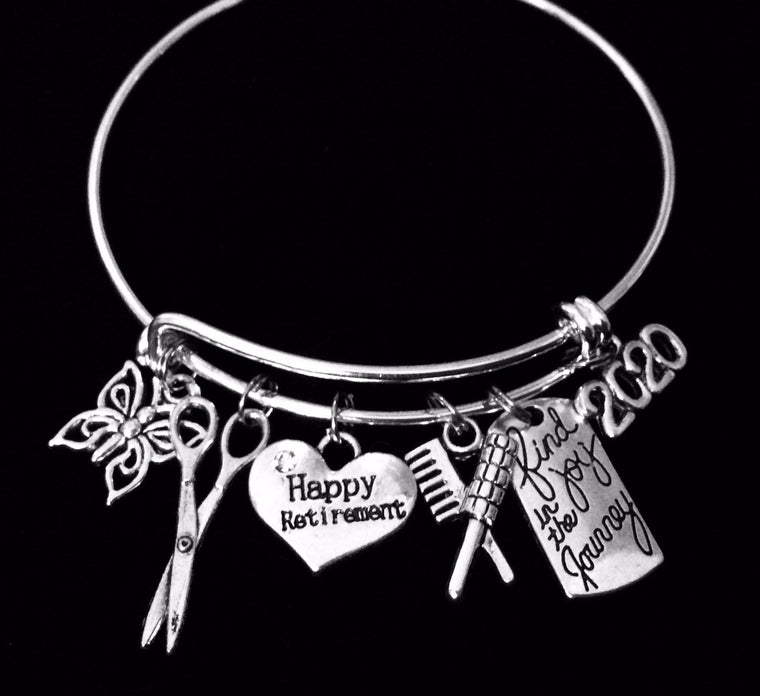 2021 Retirement Gift for Hair Stylist Happy Retirement Expandable Silver Charm Bracelet Adjustable Bangle One Size Fits All Gift