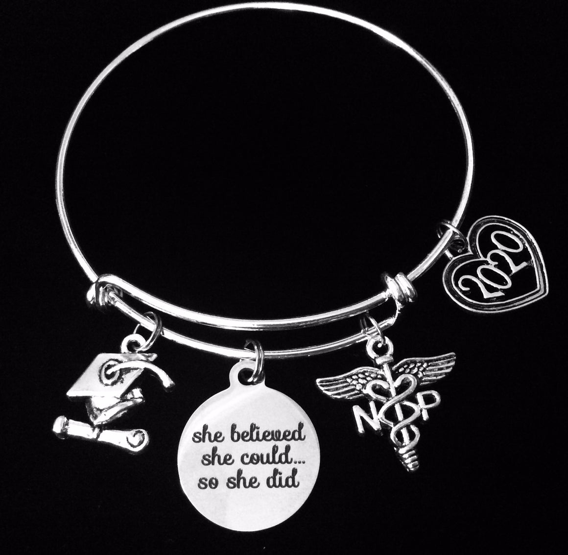 2020 Graduating NP Gift Nurse She Believed She Could So She Did Expandable Charm Bracelet Adjustable One Size Fits All Gift