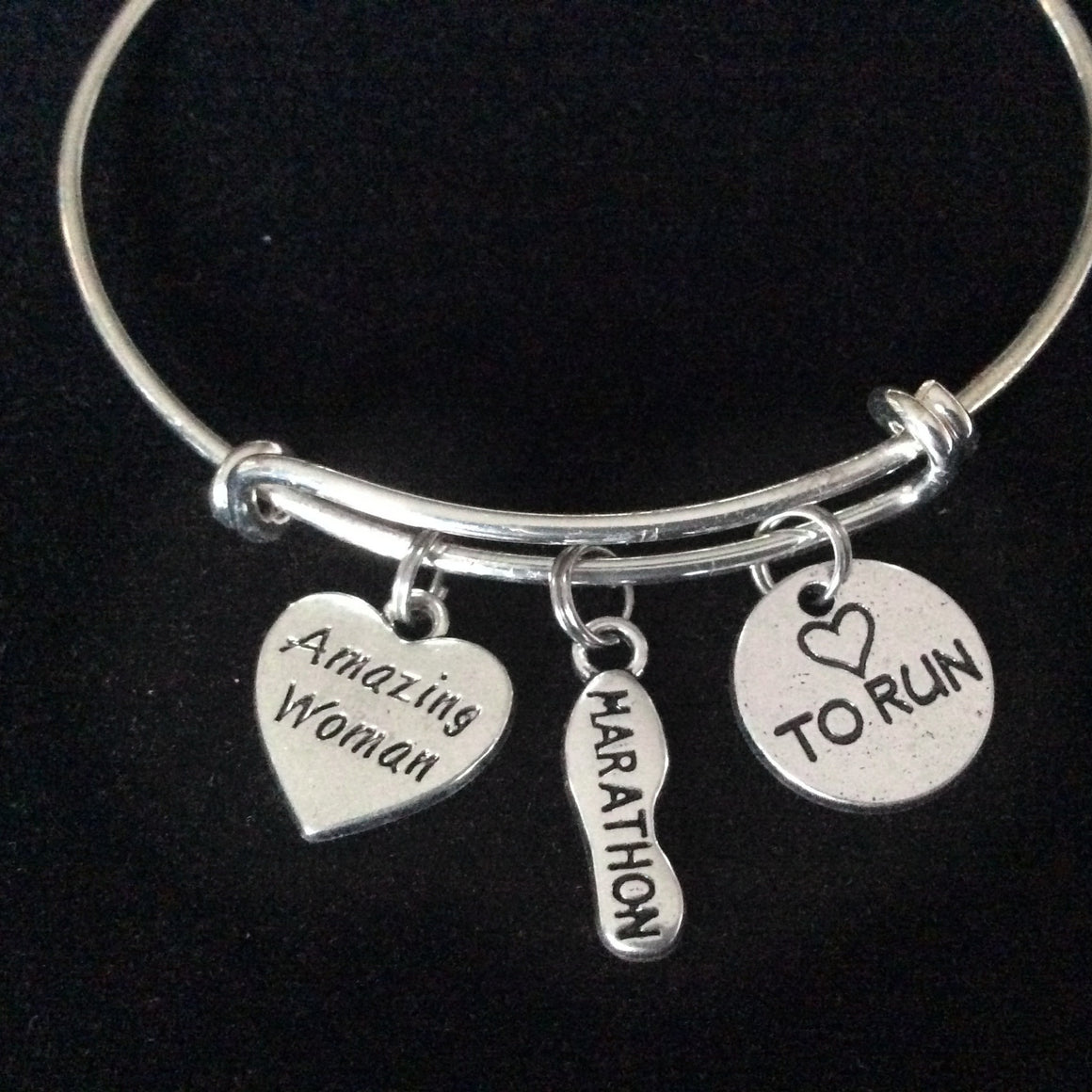 Amazing Woman Love to Run Marathon Shoe Silver Charm Bracelet