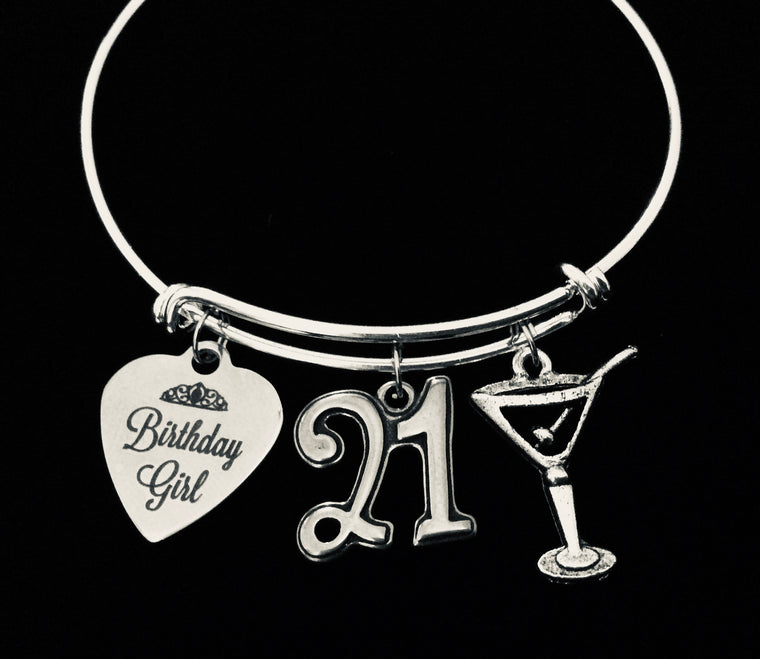 21st Birthday Jewelry Martini Birthday Girl Charm Bracelet