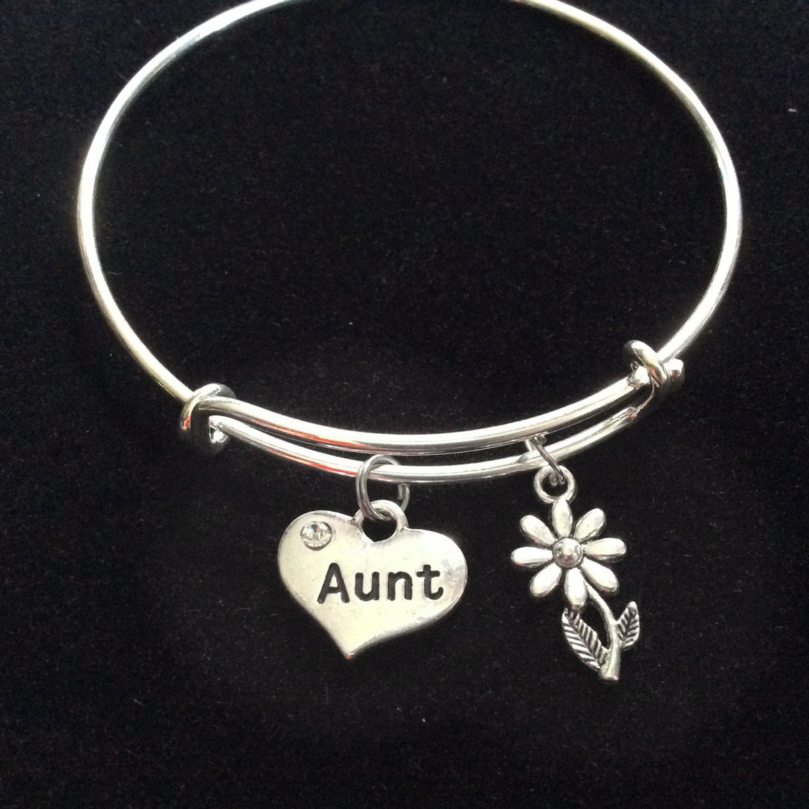Aunt Charm Bracelet Silver Adjustable Expandable Bangle