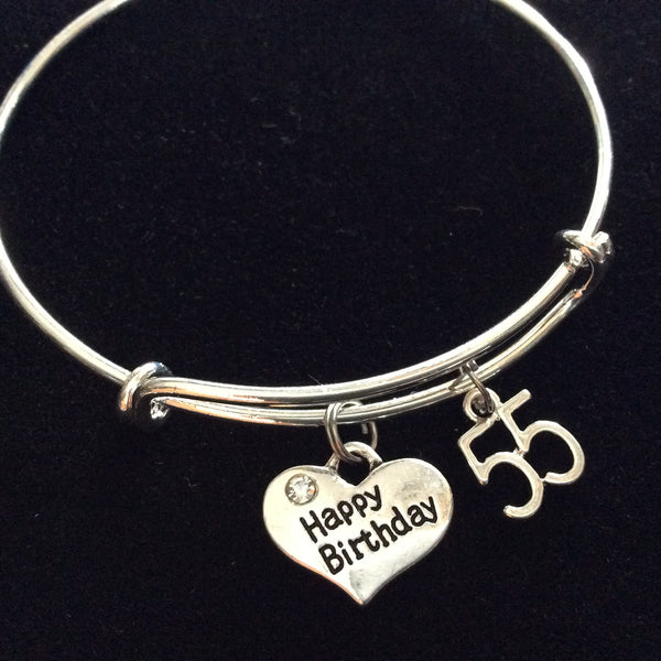Expandable Charm Bracelets: Happy 55th Birthday Expandable Charm Bracelets Adjustable