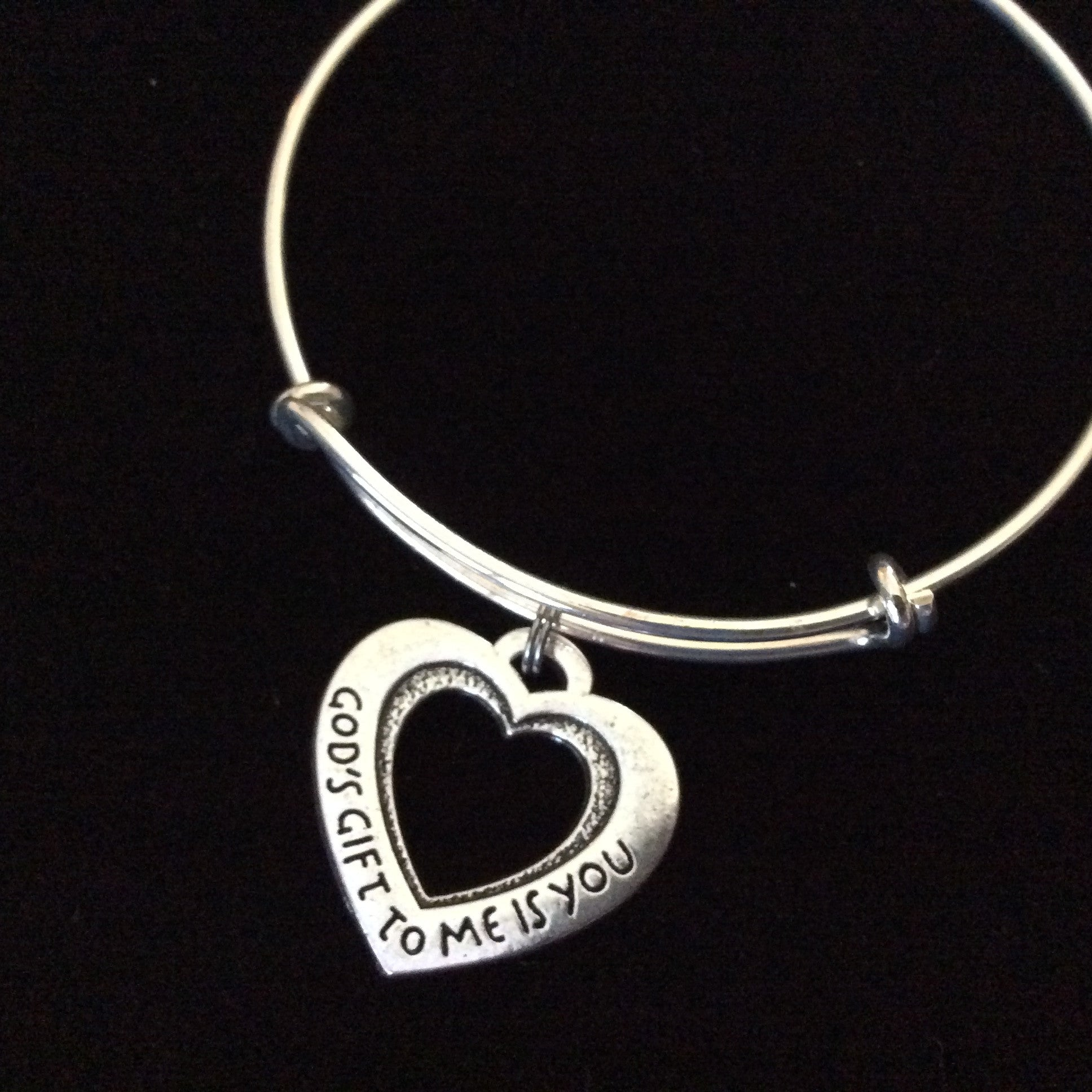 Gods Gift To Me Is You Quote Charm Silver Expandable Adjustable Wire