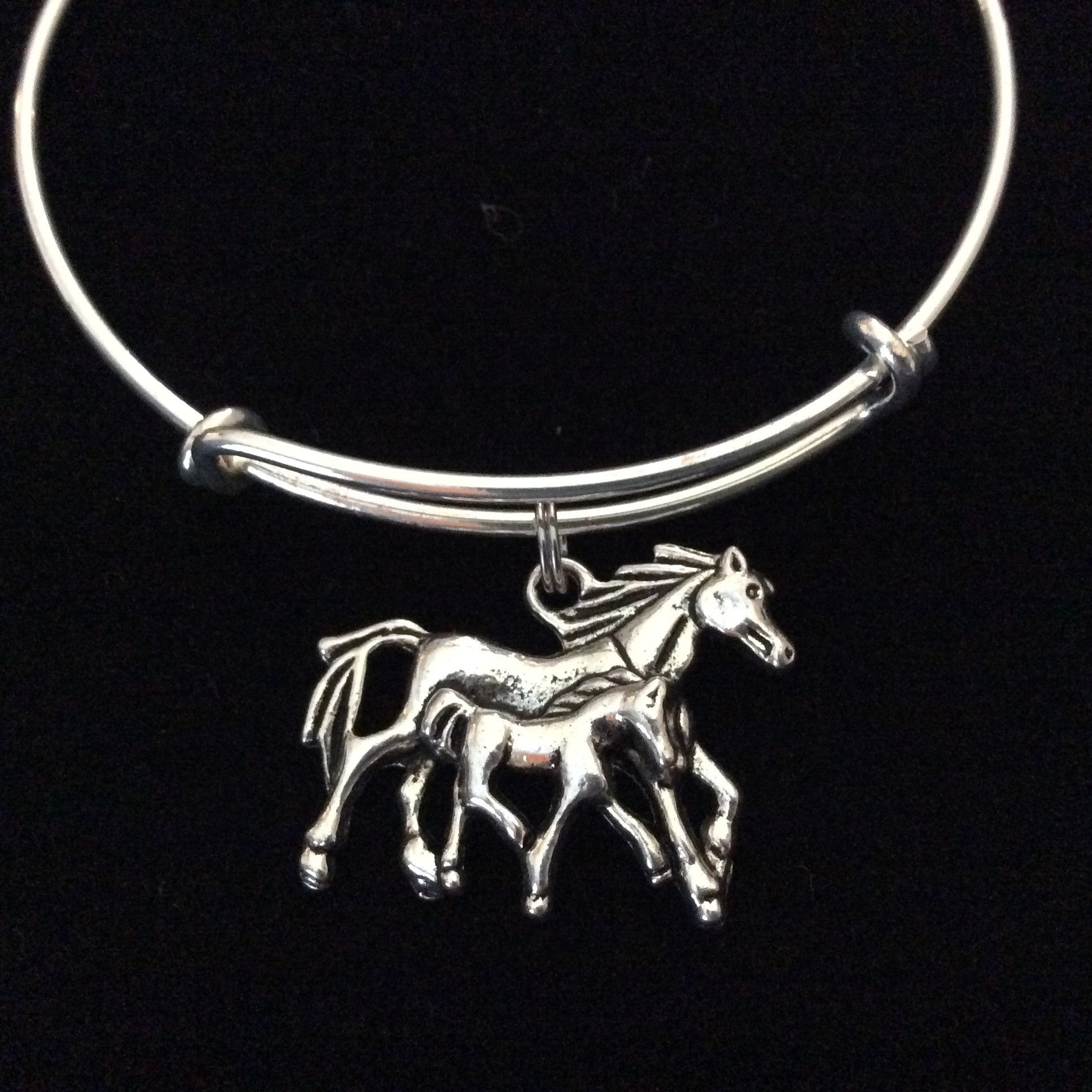 mother and baby horse charm bracelet expandable adjustable silver