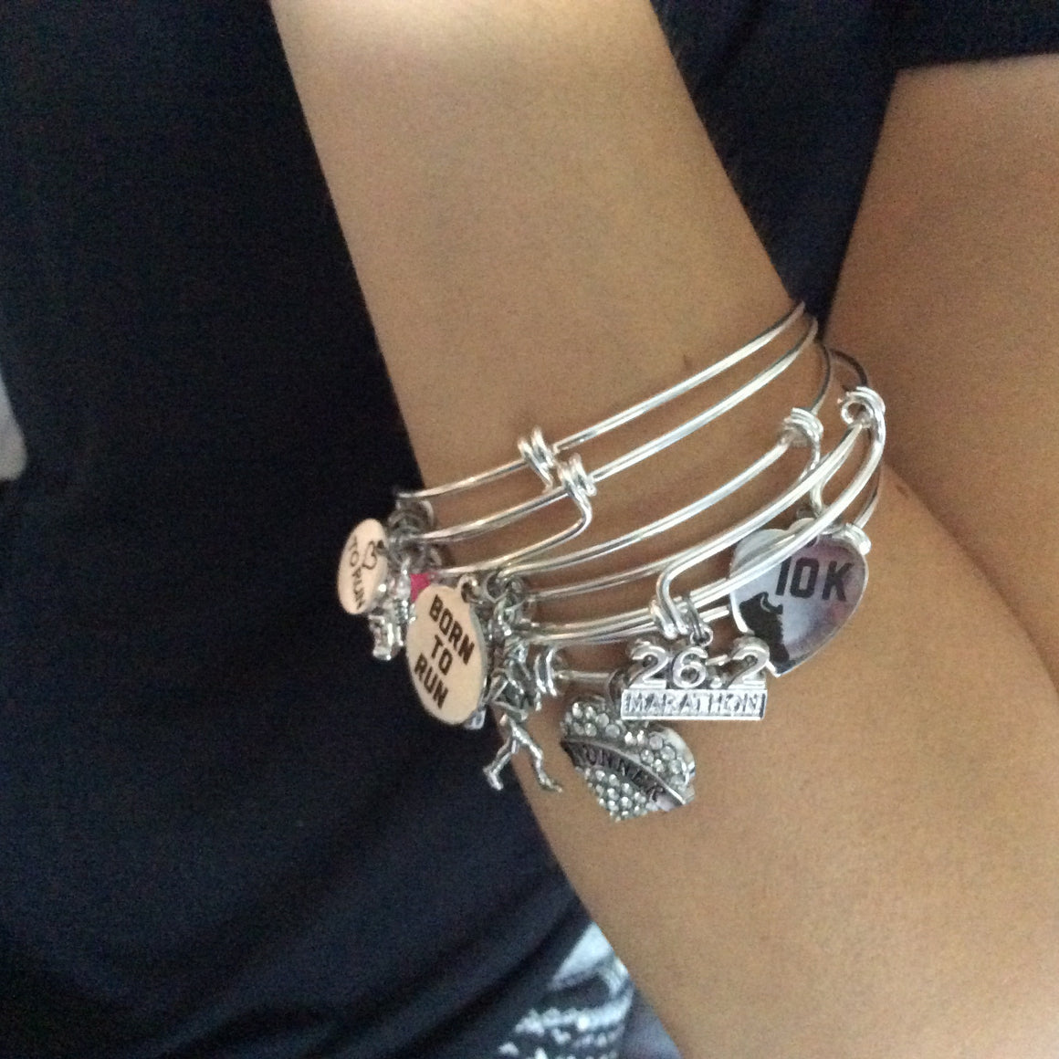 Medina Bees Expandable Silver Charm Bracelet Adjustable Wire ...