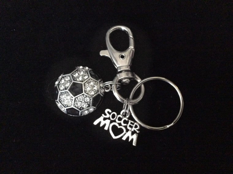 Soccer Mom Key Chain Siver Crystal Soccer Charm Silver Key Ring