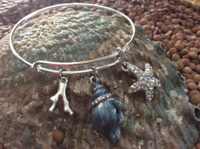 Nautical Bracelet Crystal Blue Seashell Starfish and Coral Silver Expandable Bracelet