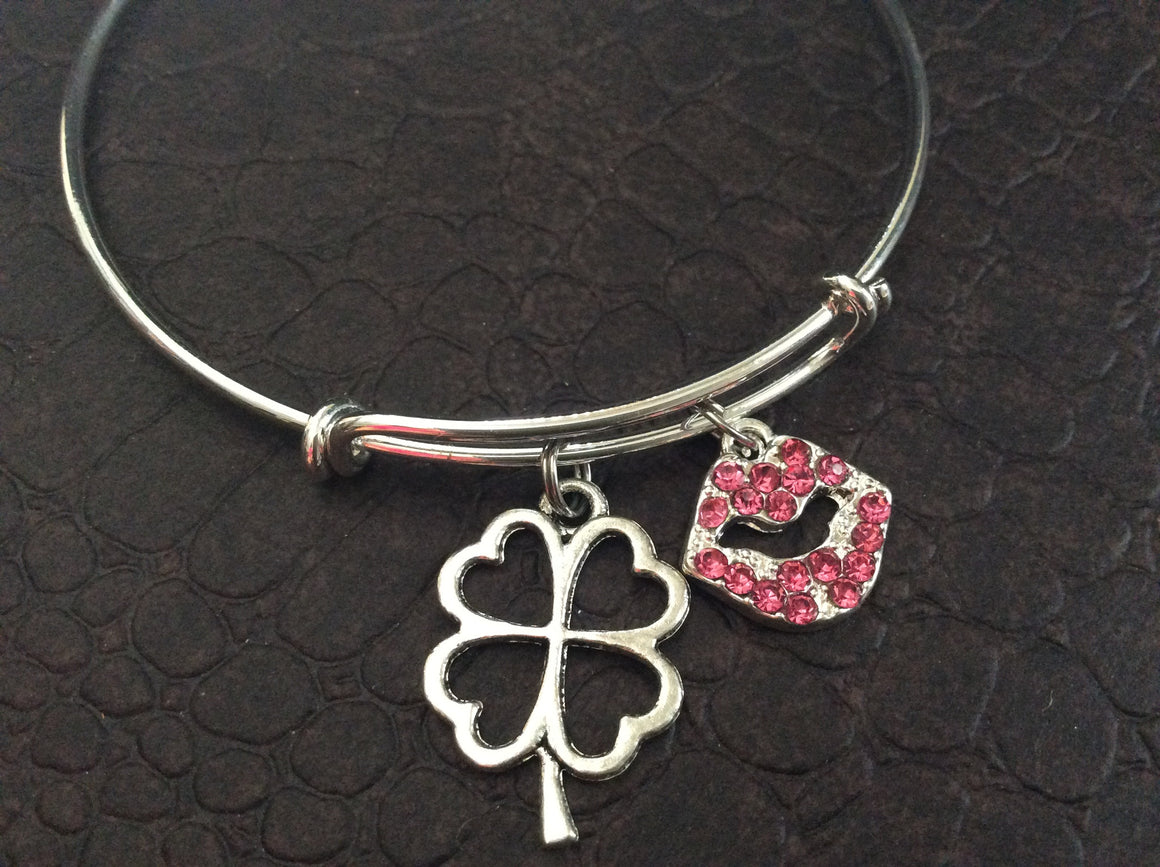 Crystal Lips and Four Leaf Clover Silver Expandable Bracelet