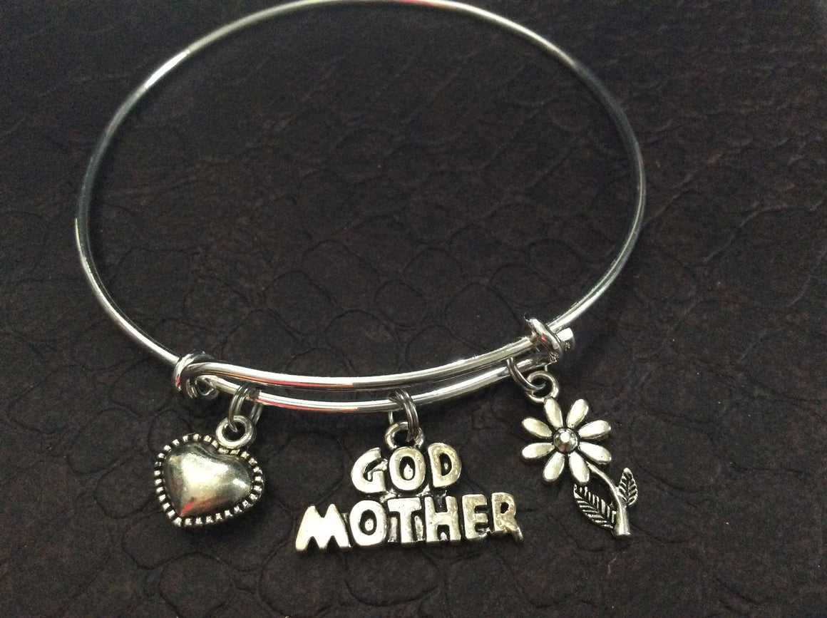 Godmother and Daisy Charm Silver Expandable Bracelet Adjustable Bangle