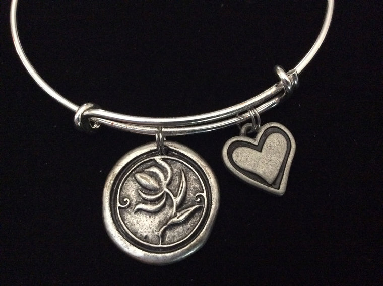Wax Stamped Silver Flower and Heart Expandable Bracelet