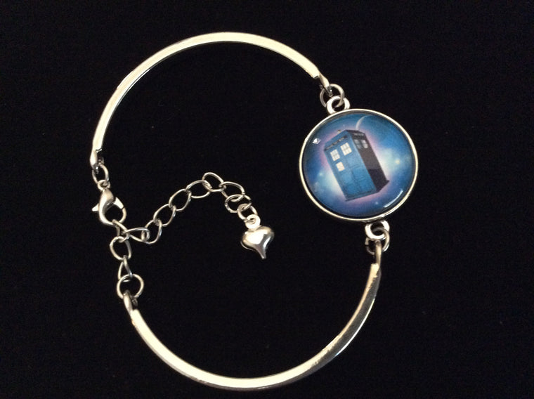 Blue Police Box Design Domed Charm on a Silver Adjustable Cuff Bracelet