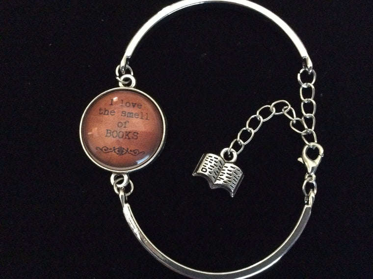 I Love the Smell of Books Glass Domed Charm on a Silver Adjustable Cuff Bracelet