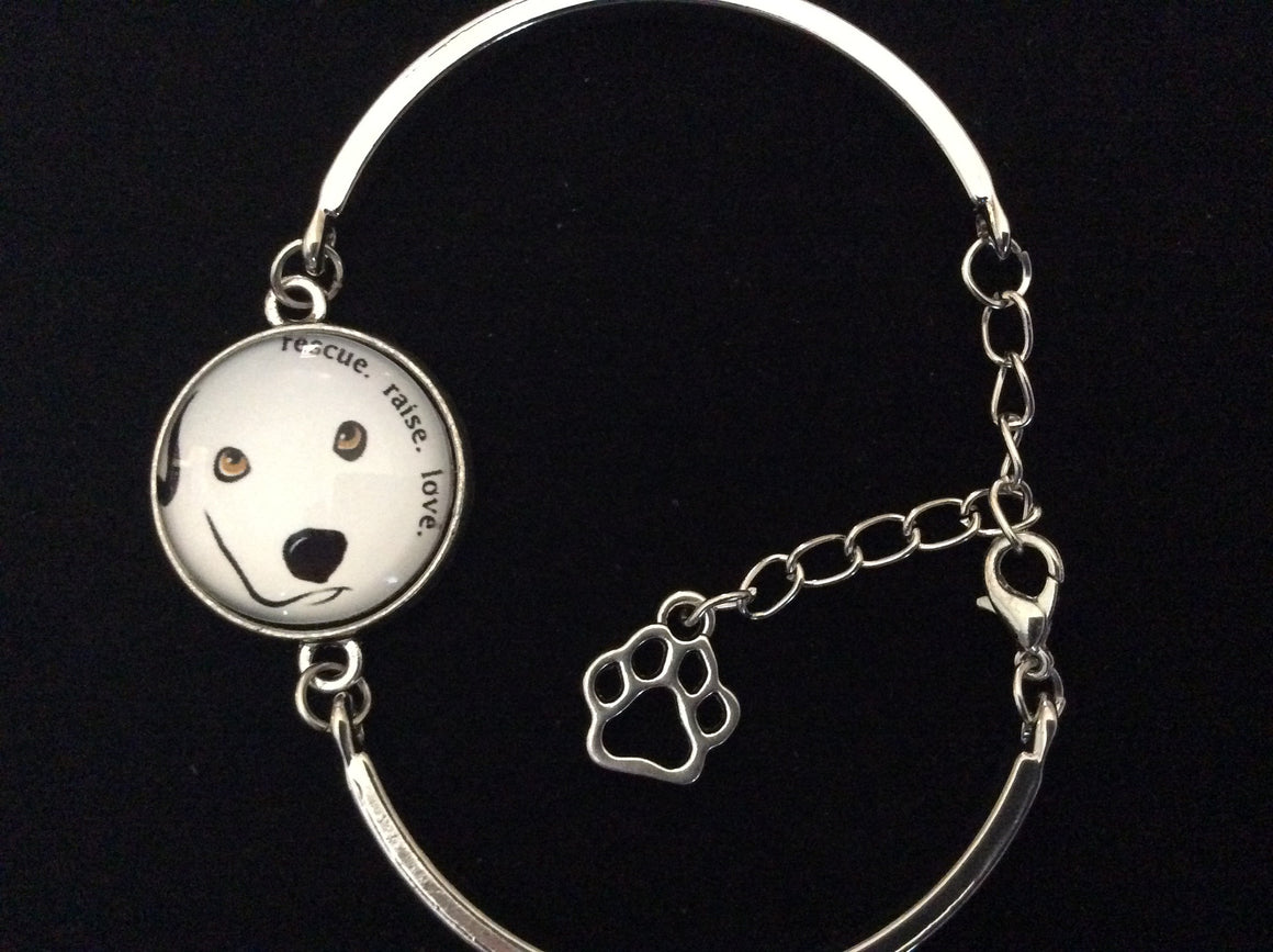 Dog Rescue Raise Love Glass Domed Charm on a Silver Adjustable Cuff Bracelet