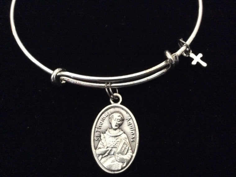 Saint Aquinas Silver Expandable Bracelet Adjustable Wire Bangle