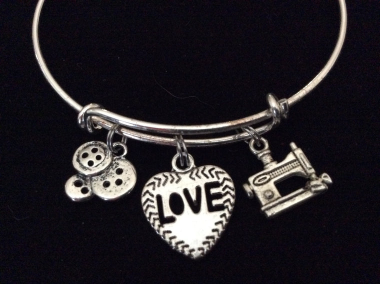 Love to Sew sewing Machine Buttons Heart Shaped Love Charm Silver Charm Bracelet